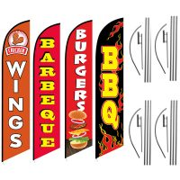 BBQ Feather Flag Package – Pack of 4 with Pre-Curved Poles & Ground Spike