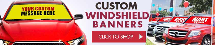 Custom Windshield Banners also known as Bucko Banners