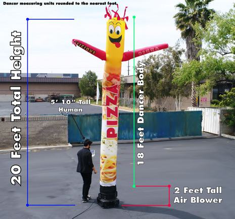 inflatable tube man dimensions