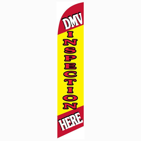 DMV Inspection Here Feather Flag 12ft Tall Swooper Banner Red and Yellow