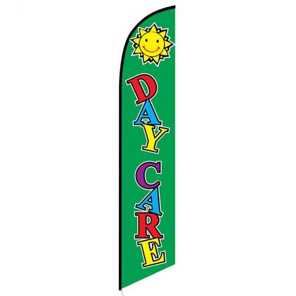 Daycare green feather flag