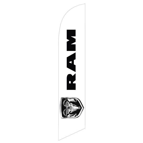 Dodge Ram feather flag is white with the Ram logo in digital print.