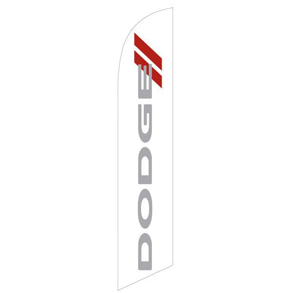 Dodge white feather flag is a white flag with a gray and red design.
