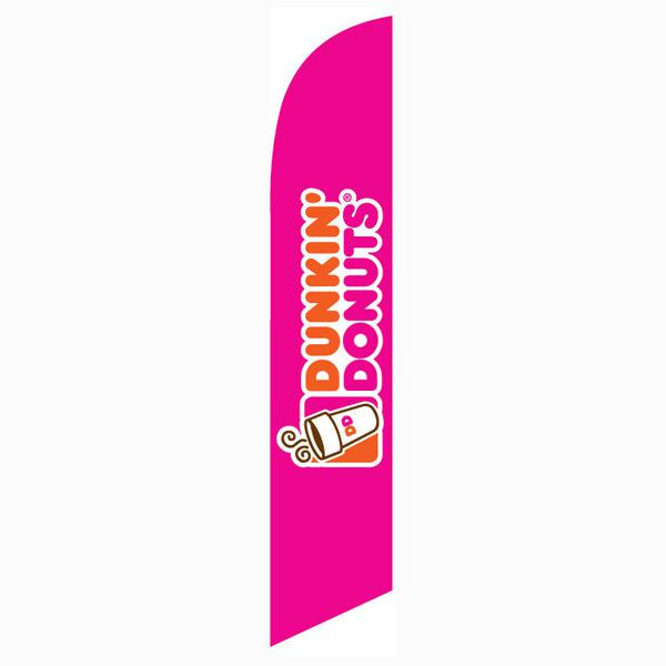 Use this bright pink Dunkin Donuts feather flag for your grand opening