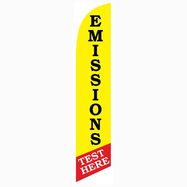 Emissions Test Here feather flag for Auto Inspection and Repair Businesses