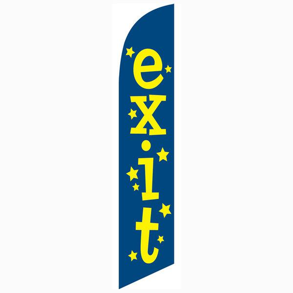 Exit feather flag Swooper Banner Blue with Yellow Text And Stars