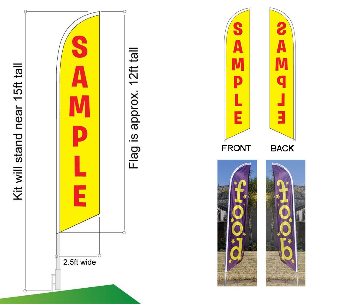 Details about  /State Inspection Here Advertising Feather Banner Swooper Flag Sign with Flag...
