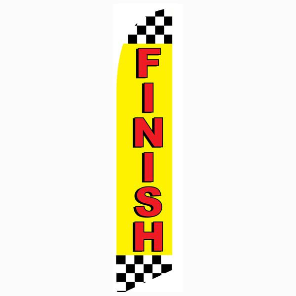 Finish Feather flag Black and White Checkered Swooper Banner with Yellow and Red Text