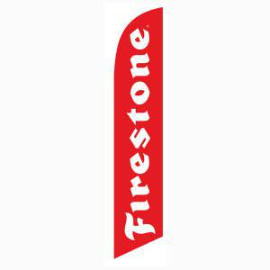 Firestone feather flag is a great outdoor advertising banner to increase sales.