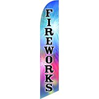 Fireworks Feather Flag Kit with Ground Stake