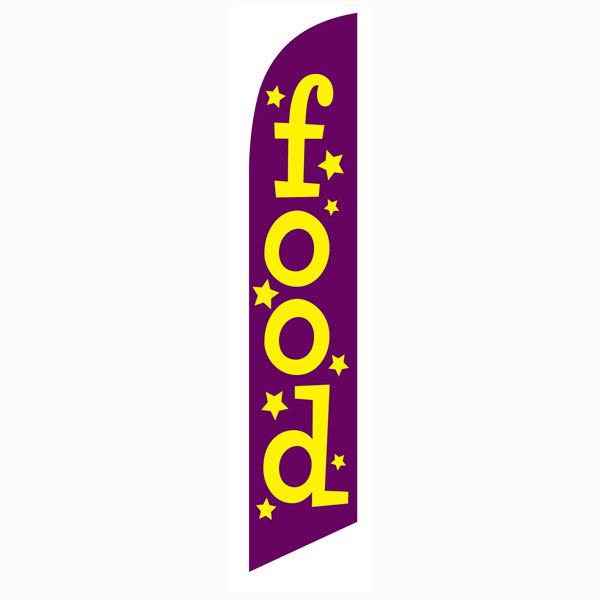 Food feather flag Purple Swooper Banner with Yellow Stars and Text