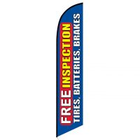 Free Inspection Tires Batteries Brakes Blue Banner Flag