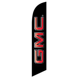 GMC feather flag is a bold black background with red design.