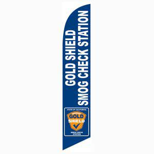 Gold Shield Station Smog Banner Blue Swooper Flag White Text 12ft tall