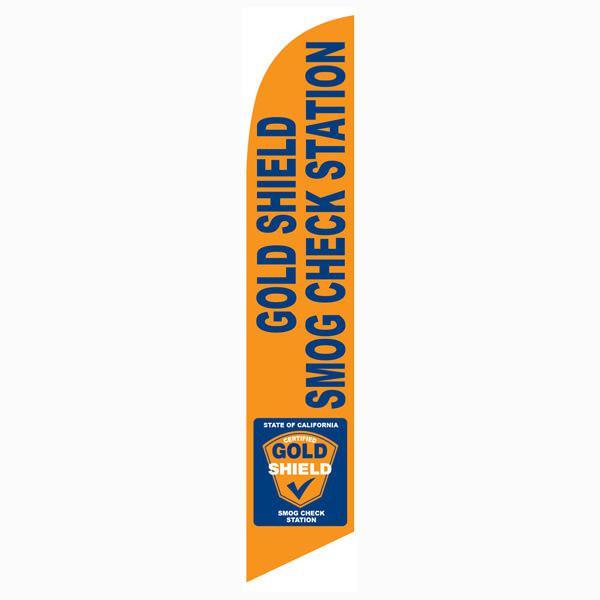 Gold Shield Smog Check Station Flag Orange and Blue Swooper Banner