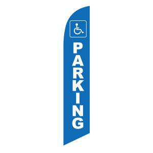 Handicap Parking feather flag Blue with White Text Wheelchair Sign