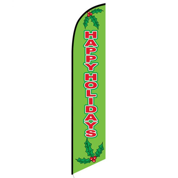 Happy Holidays green feather flag