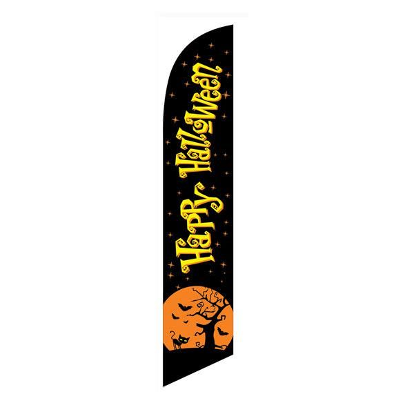Tall outdoor advertising black Happy Halloween feather flag