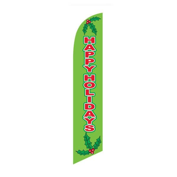 Bright green Happy Holidays feather flag for outdoor décor and advertising