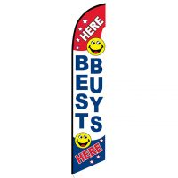 Here Best Buys Here feather flag