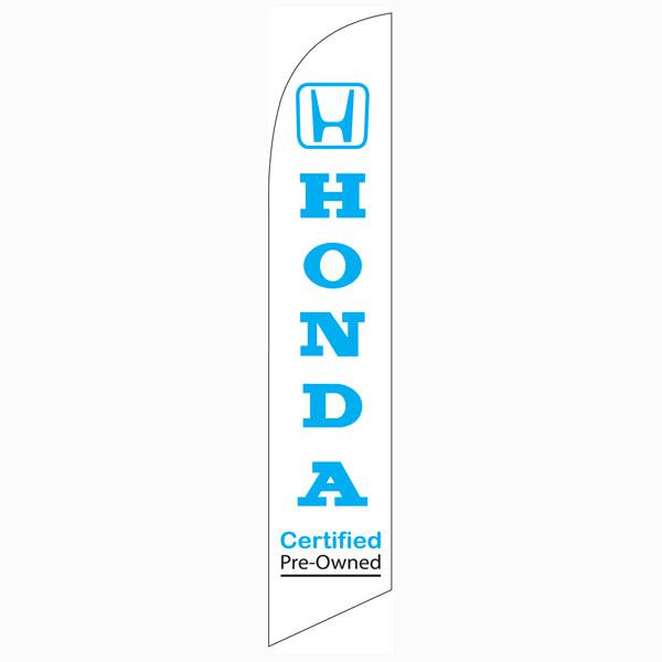 Our Honda CPO feather flag is a vibrant white with a blue design.