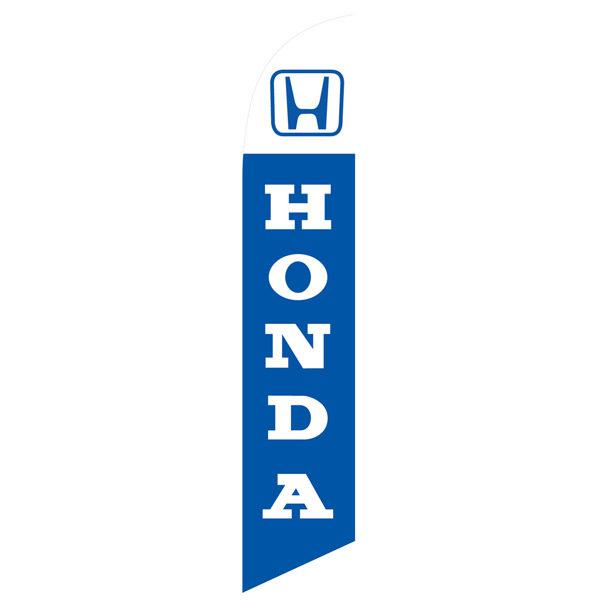 Honda feather flag has a blue background and white lettering.