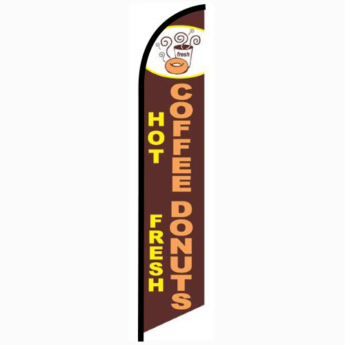 Hot Coffee Fresh Donuts Feather Flag