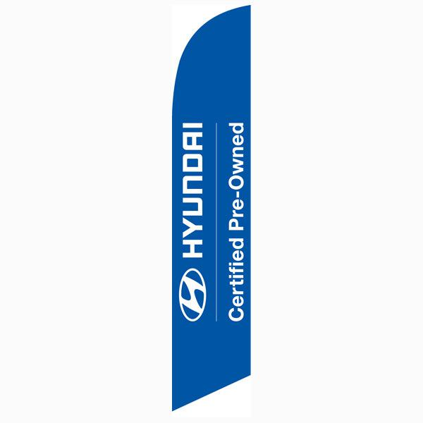 Hyundai CPO feather flag is blue with white letters.