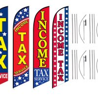 Tax Service Feather Flags – Pack of 4 with Pre-Curved Poles & Ground Spike