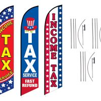 Tax Service Feather Flags – Pack of 3 with Pre-Curved Poles & Ground Spike
