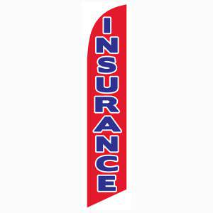 Bright red Insurance feather flag that stands tall as your outdoor banner
