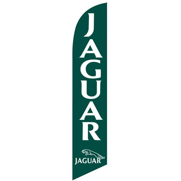 Jaguar feather flag is a green background with white design.