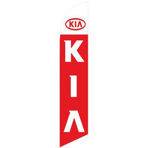 KIA feather flag has a bright red background and white design.