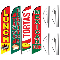 Food Feather Flag Package – Pack of 4 with Pre-Curved Poles & Ground Spike