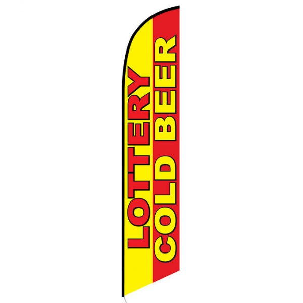 Lottery Cold Beer feather flag