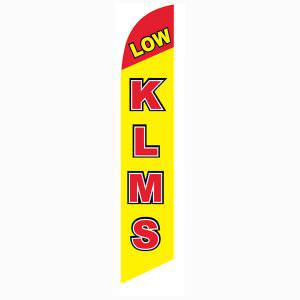 Low KLMS feather flag or banner comes in a yellow and red print.