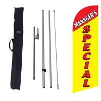 Managers Special yellow Feather Flag Kit w/ Ground Stake and Travel Bag