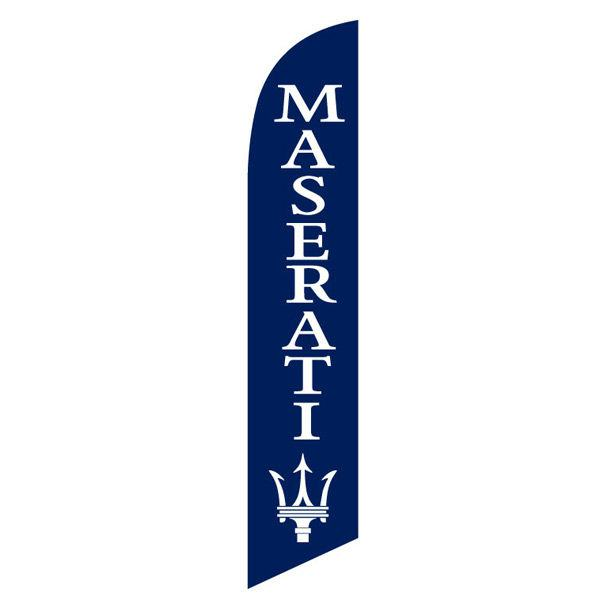 Maserati feather flag is a dark blue and bright white design.