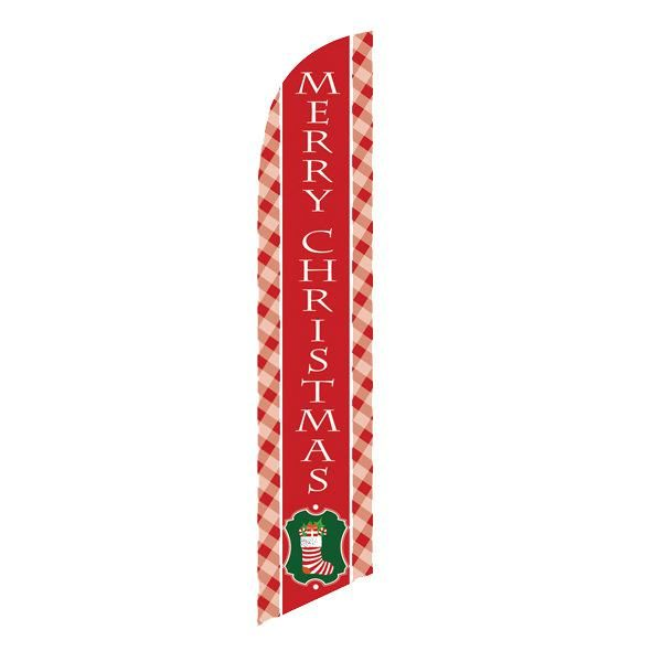Festive red Merry Christmas feather flag for your outdoor décor