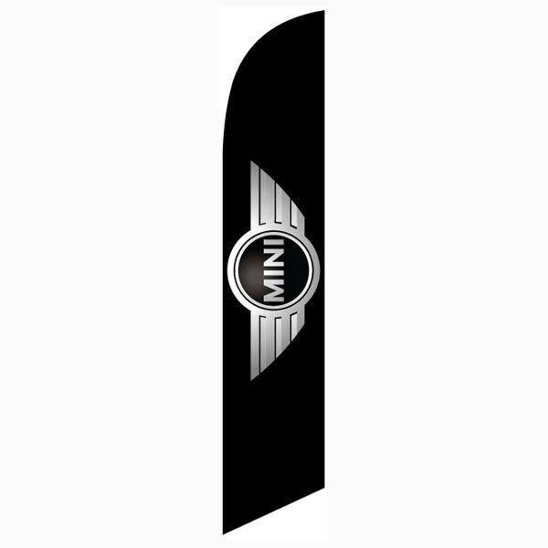 Mini cooper feather flag is black with a silver logo in a digital print