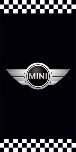 Sample light pole banner design for a Mini cooper auto dealership