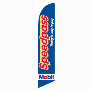 Mobil Speedpass feather flag to let customers know of this service
