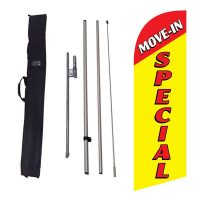 Move-in Special yellow Flag Kit w/ Ground Stake and Travel Bag