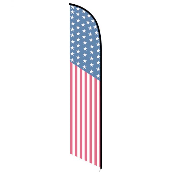 amercian 50 star feather flag single sided back