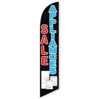 Appliances Sale Feather Flag Banner, Black and Blue Design