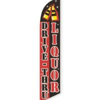 Drive Thru Liquor (Red & Black) Feather Flag