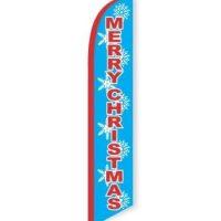Merry Christmas Blue Feather Flag