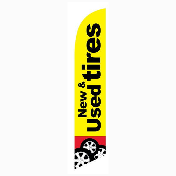 New and Used Tires feather flag is a must have outdoor banner for all tire shops.