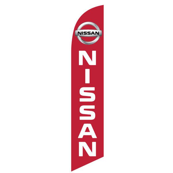 red Nissan feather flag and banner is a red and white digital print.