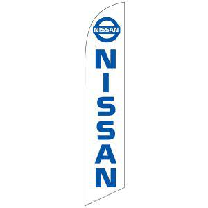 This white Nissan feather flag has a white back with blue lettering.